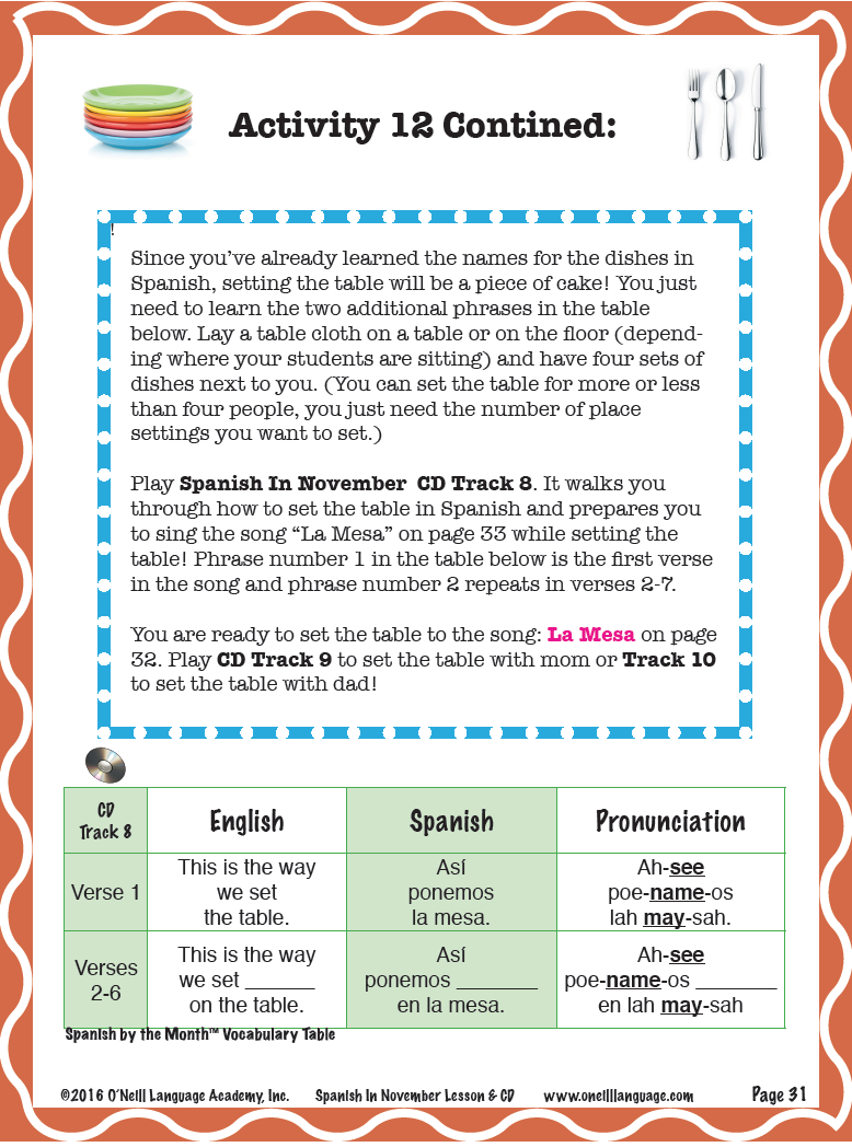 Quantity  sc 1 st  Ou0027NEILL LANGUAGE ACADEMY & Teach your students how to set the table in Spanish! They can help ...