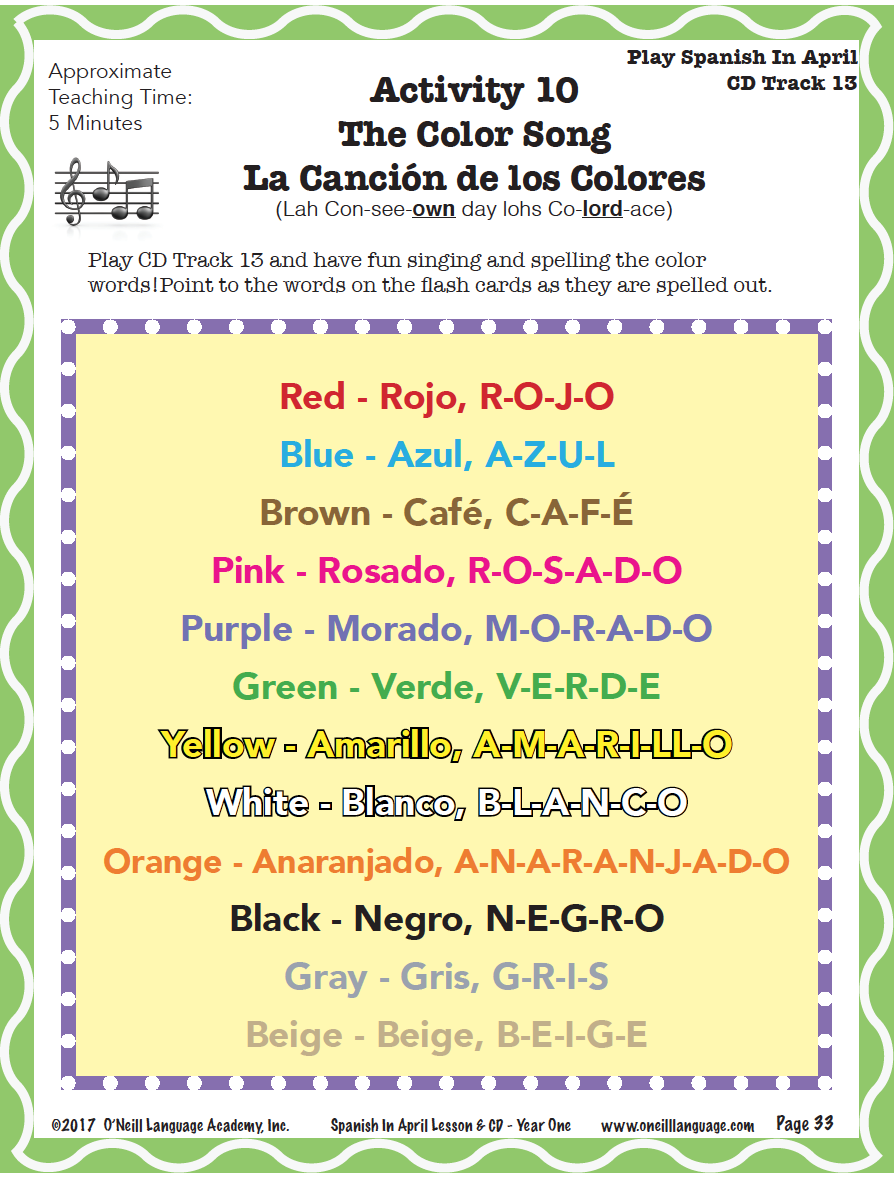 singing this fun song that combines colors and spelling in spanish