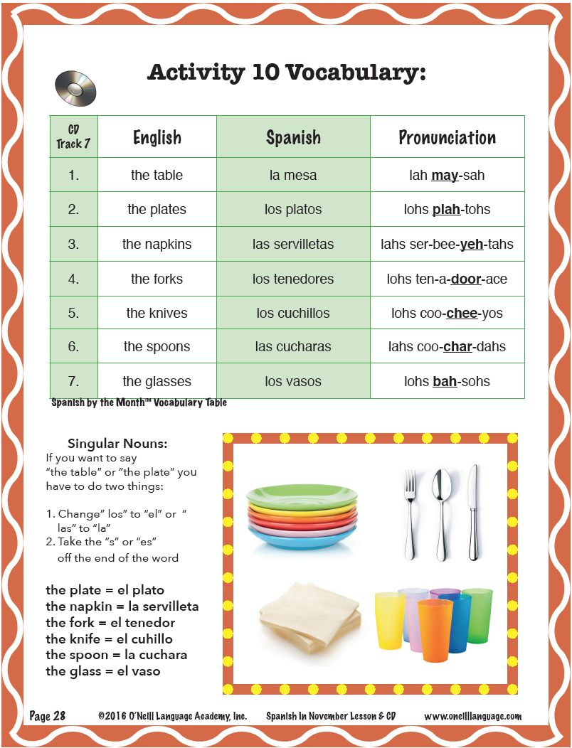 Quantity  sc 1 st  O\u0027NEILL LANGUAGE ACADEMY & Teach your students how to set the table in Spanish! They can help ...