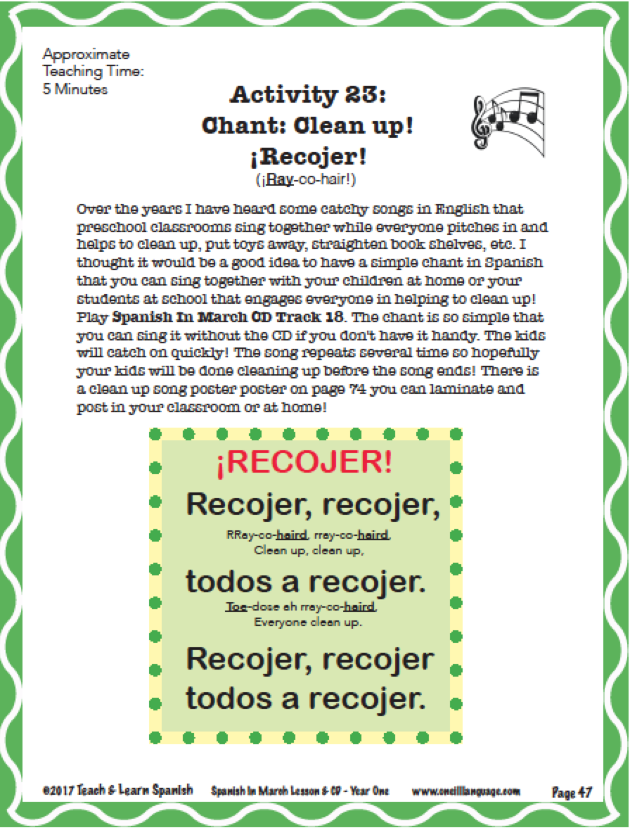 Spanish In March Lesson & CD (Digital Download)